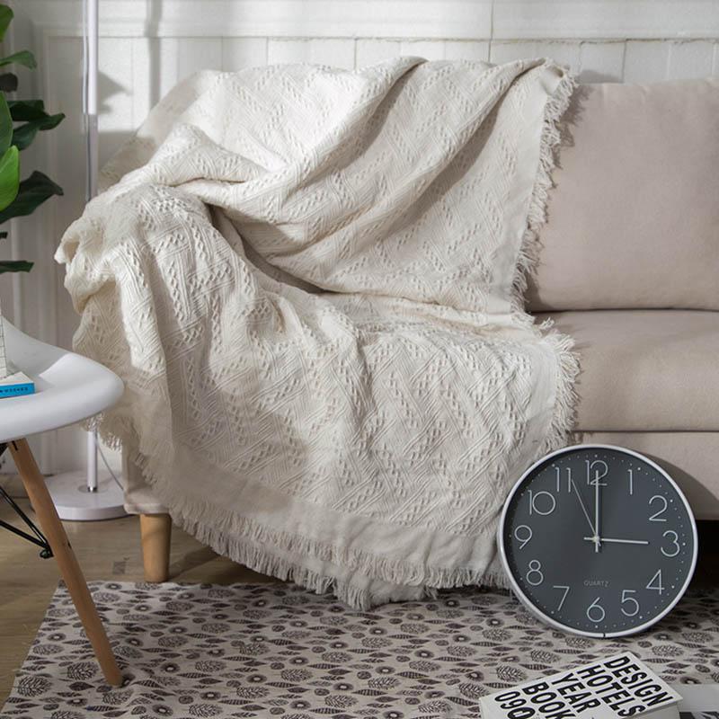 Knitted Sofa Blanket European Style Thread Blankets Four Season Throw Blankets for Bed Office Travel Sofa