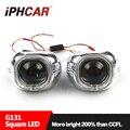 Free Shipping IPHCAR LHD/RHD HL H1 3.0 White Square Led Angel Eyes Projector Lens H1 Xenon Bulb H4 H7 Headlight Headlamp