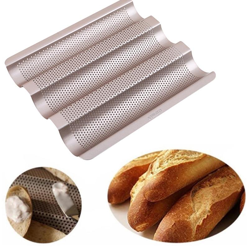 "Gold 3 Slot French Bread Pan Baguette Baking Tray Nonstick Bake Loaf Mould 15/"""