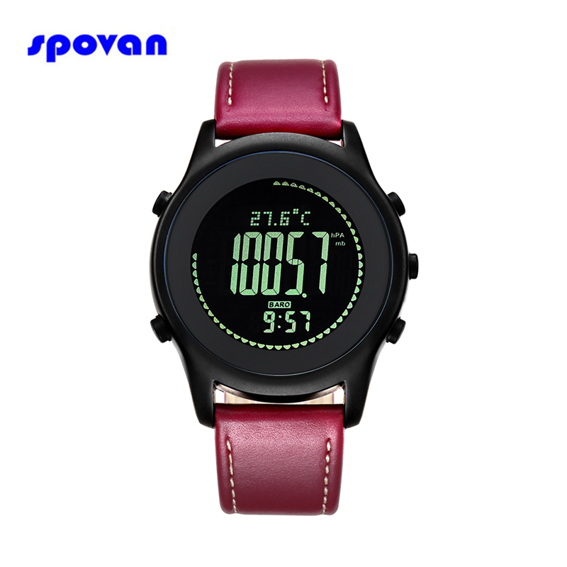SPOVAN Sport Watch Men Waterproof LED Compass Altimeter Pedometer Digital Wrist Watch Clock Saat Montre Homme Relogio Masculino