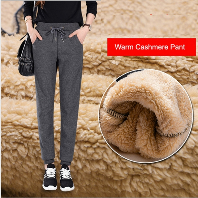 Winter Cashmere Harem Warm Pants Women's Velvet Thick Lambskin Cashmere Pants For Women loose Winter Causal Women trousers Warm