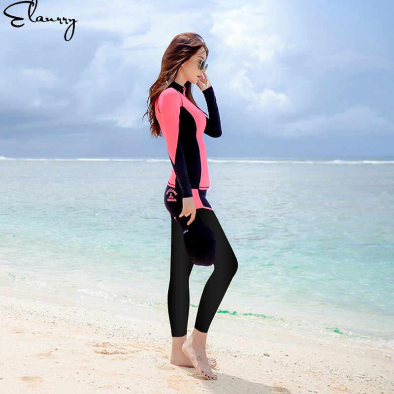 Wanita Surfing Setelan Lengan Panjang Seksi Pantai 2019 Mujer 5 Buah Musim Panas Rashguards Maillot De Bain Femme Gadis Baju Renang