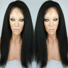 Italian Yaki Straight Hair Wig Full Lace Human Hair Wig Glueless Lace Front Wig Natural Hairline with Baby Hair Bleached Knots