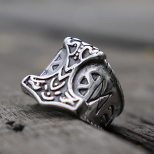 Mens Viking Stainless Steel Ring Mjolnir Thor Hammer Runes Biker Rings Nordic Talisman Jewelry