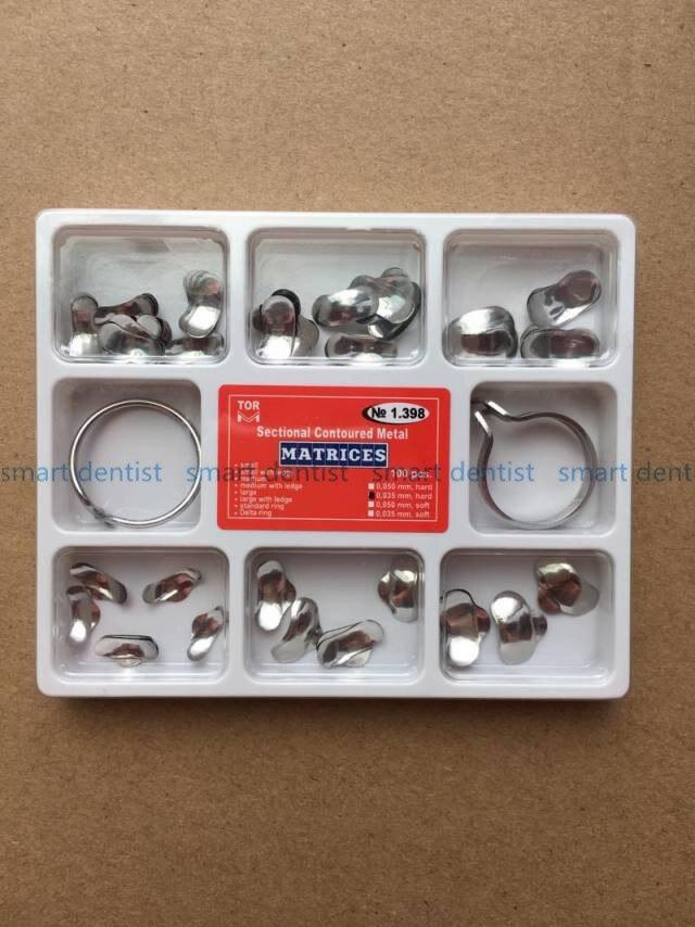 Good Quality 100Pcs Full Kit Dental Matrix Sectional Contoured Metal Matrices No.1.398 + 2 Rings