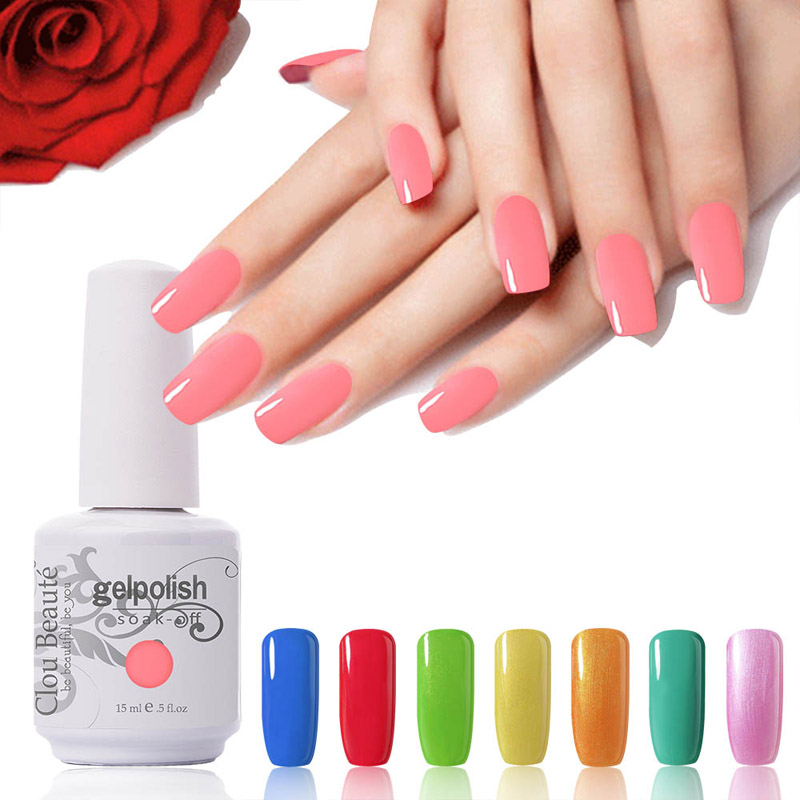 Venta caliente 15 ml Clou Beaute Elija 1 de 60 colores Uñas Gel UV Lámpara Led Nail Gel Soak Off UV Gel Polish For Nail Salon