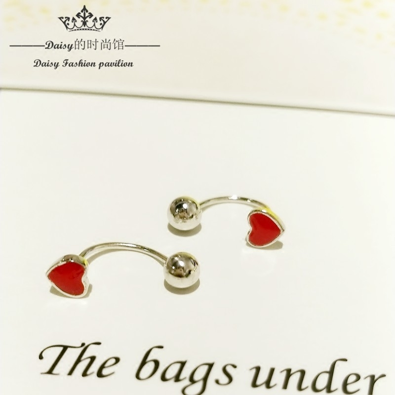 925 silver, red heart shaped navel nail, fine needle, screw, puncture, anti allergy, umbilicus, 0.8mm, and so on.