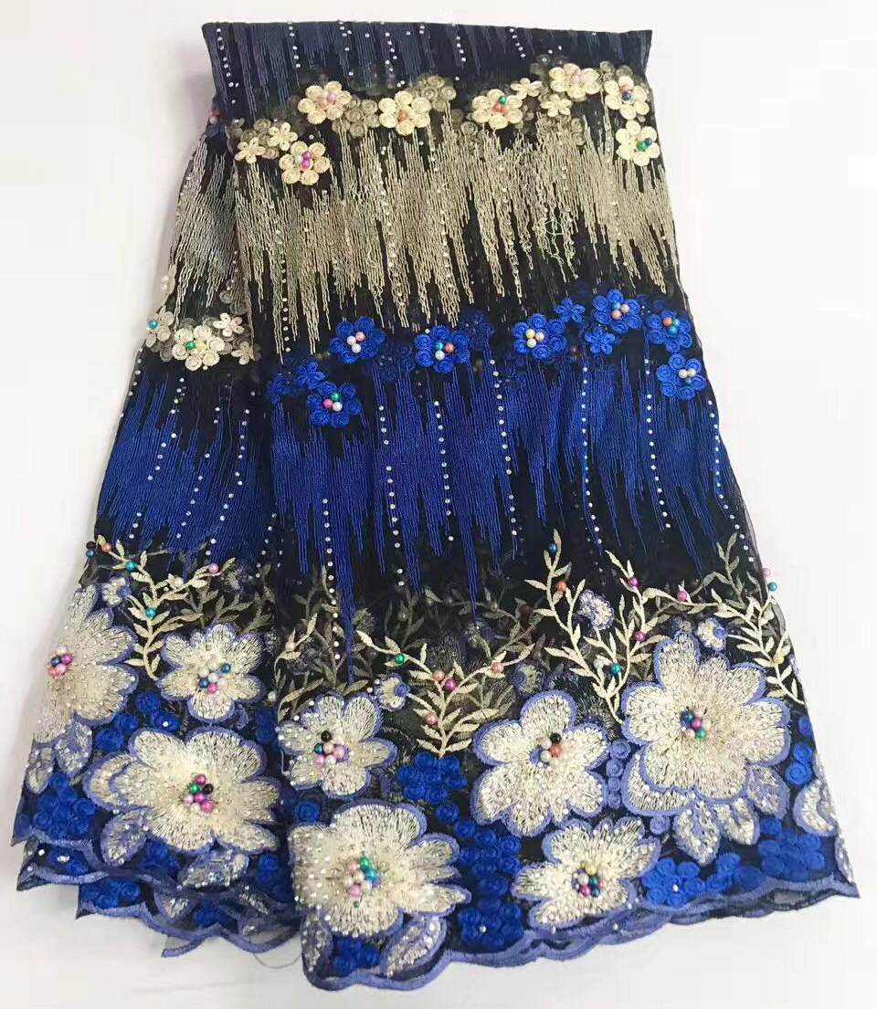 High Quality 2017 Tulle Rhinestone Beaded African Lace Fabric Pearls Guipure Embroidered French Nigerian Lace Fabrics