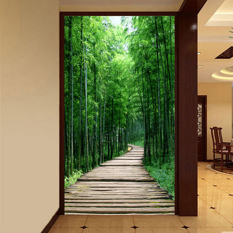 Custom Photo Wallpaper Green Bamboo Forest Small Road 3D Wall Painting Living Room Entrance Corridor Decoration Mural Wall Paper