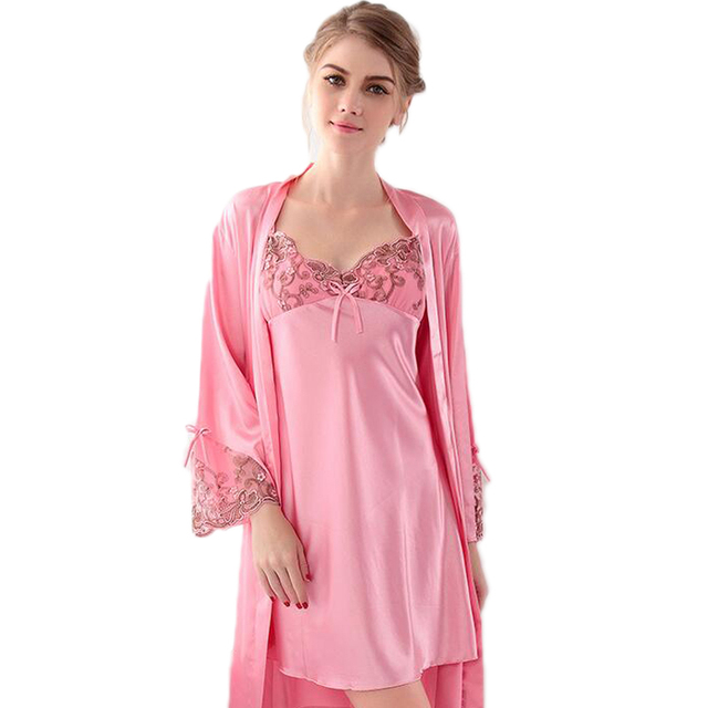 2016 new arrival Robe Sets silk solid nightdress sexy woman Lingerie plus size size nightgowns women v neck sleep shirt pajamas