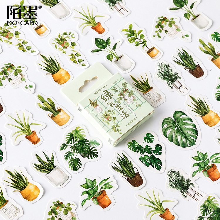 45 Pcs/pack Green Potted Plant Decorative Washi Stickers Scrapbooking Stick Label Diary Stationery Album Stickers 2