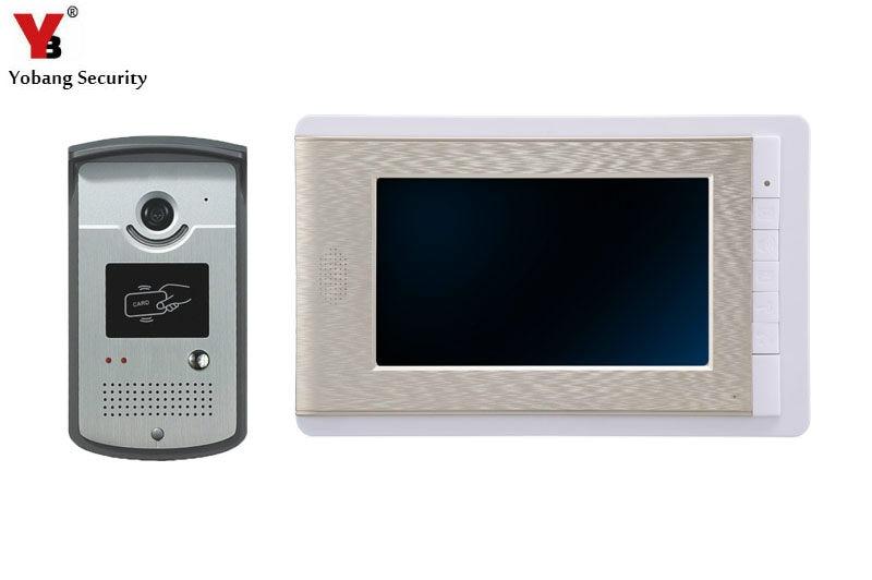 YobangSecurity 7 Inch Video Door Phone Intercom Doorbell Home Entry Intercom System Kit 1 Monitors 1 Camera With RFID ID Keyfobs