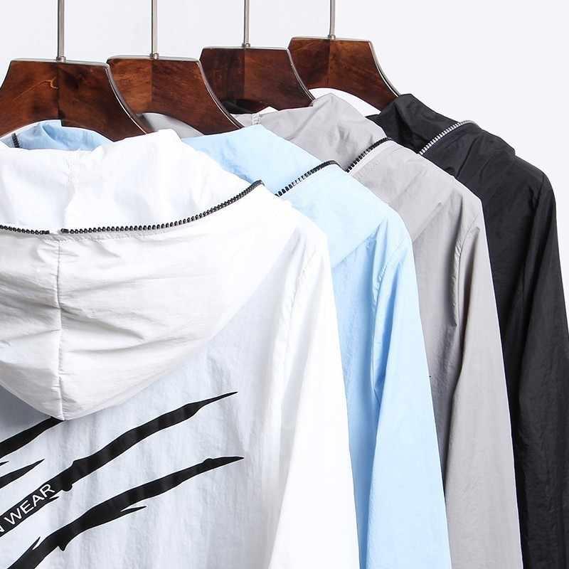 2019 летний повседневный мужской жакет куртка с капюшоном Homme сплошной с принтом брендовая одежда модные Для мужчин Куртки M-4XL солнце защитный чехол