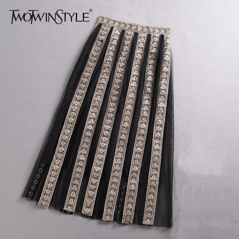 TWOTWINSTYLE Golden Embroidery Mesh Skirt Female High Waist Midi Pleated Skirts Women Fashion Clothes Big Sizes