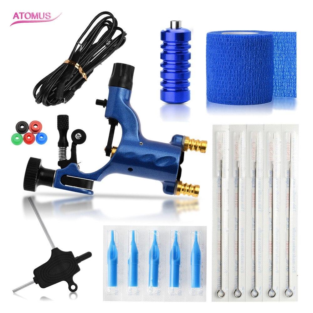 купить ATOMUS Permanent Makeup Machine Complete Tattoo Machine Kit Blue Rotary Tattoo Gun For Shader & Liner Needle Tips Include по цене 3263.2 рублей