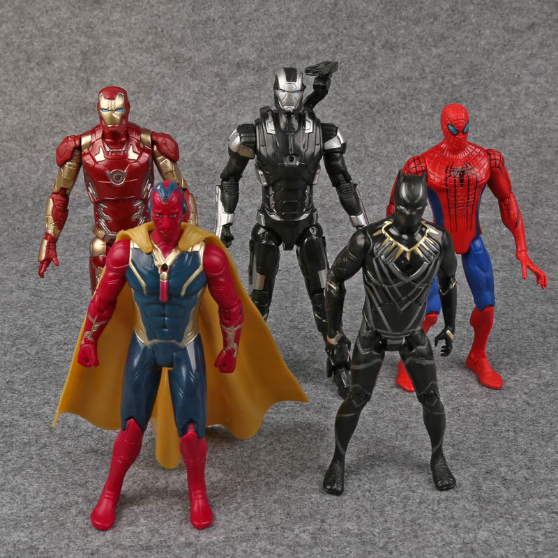 цена на Captain America 3 Civil War Iron Man Vision Spiderman War Machine Black Panther PVC Action Figures Toys 5pcs/set