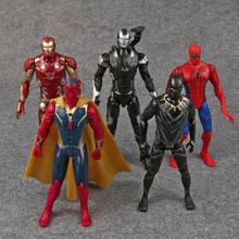 Captain America 3 Civil War Iron Man Vision Spiderman War Machine Black Panther PVC Action Figures Toys 5pcs/set