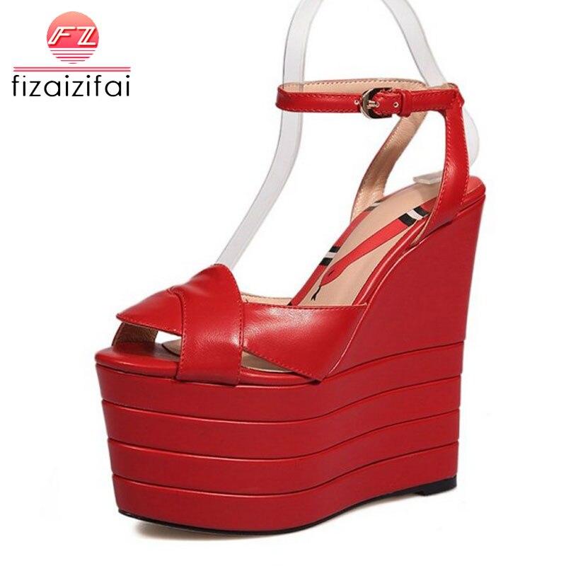 Ausdrucksvoll Fizaizifai 5 Farben Größe 34-42 Einfache Frauen Echte Echtem Leder Hohe Keile Sandalen Ankle Strap Peep Toe Plattform Sommer Schuhe