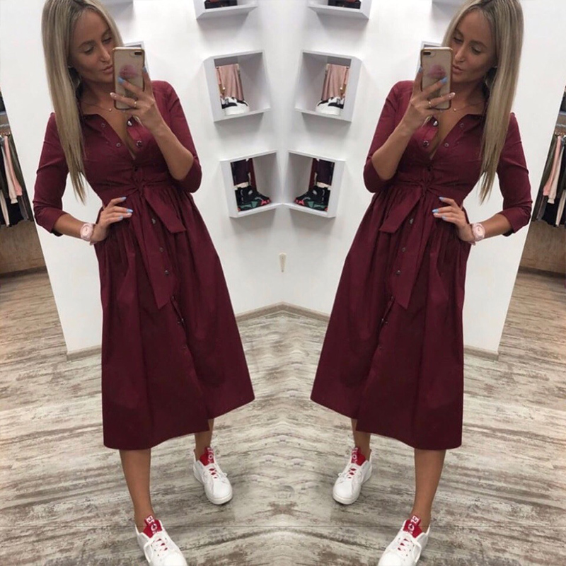 Women Casual Sashes A Line Party Dress Ladies Seven Sleeve Turn Down Collar Elegant Dress Autumn Fashion Solid Vintage Dress