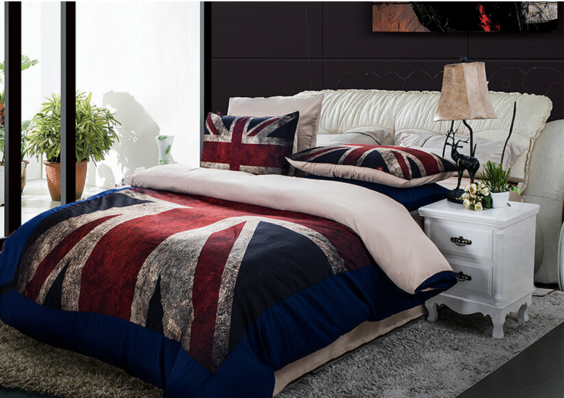 Home Textile China American British Flag Design Bedding Set Cartoon Style Bedding Beds pread Bed Linen Kids Bedding Set