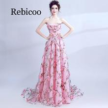 Rebicoo 2019 new tube top banquet lace applique flower party dress long paragraph super fairy skirt