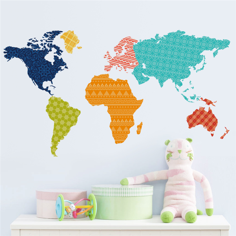 newest creative colorful World Map for study room home decal wall sticker DIY bookstore office lovely decoration stickers ZY036