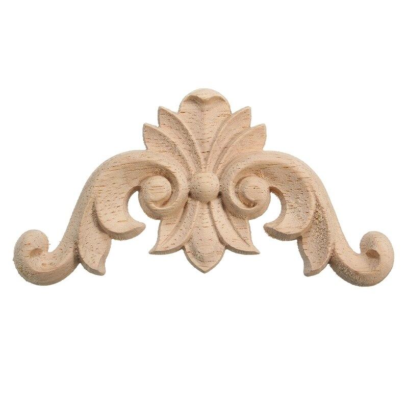 Elegant Flower Wood Carved Corner Applique Frame Door Wall Doors ...