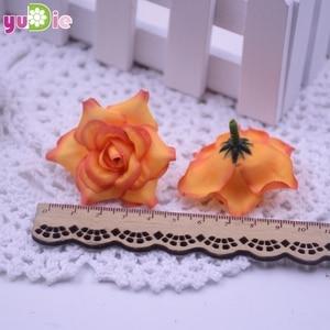 Image 5 - 10pcs Roses Artificial flowers Silk Head Wedding Decoration DIY Handmade jewelry brooch headdress party Scrapbooking Home Craft
