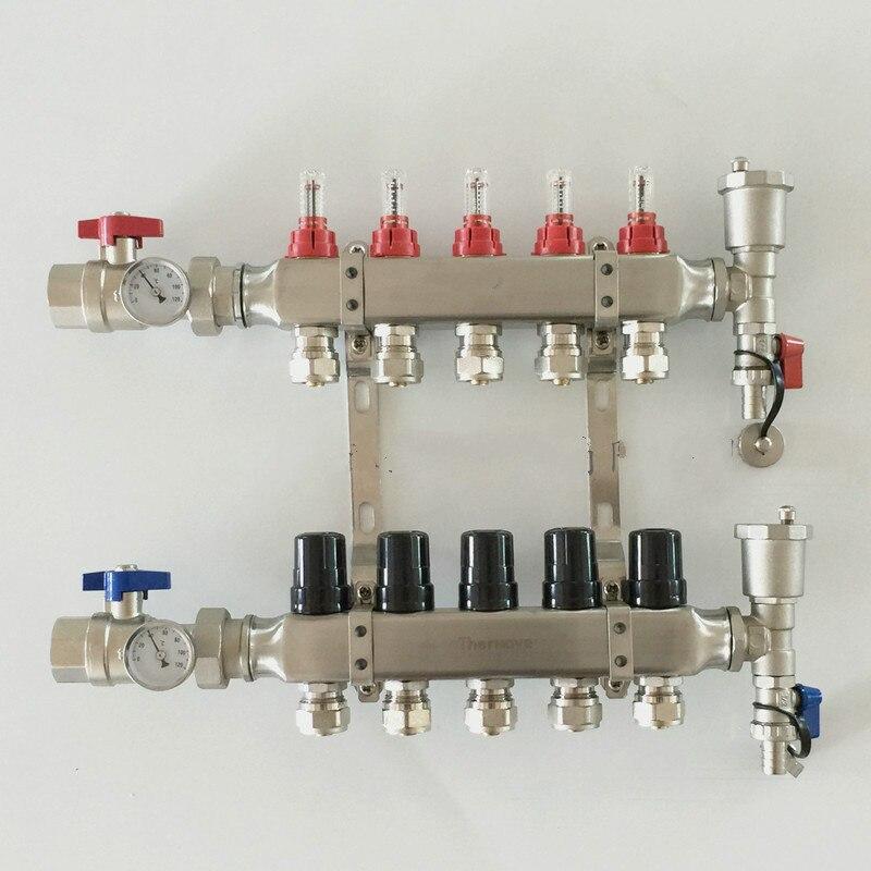 Underfloor heating manifolds 5 ports stainless steel 1 DN25Underfloor heating manifolds 5 ports stainless steel 1 DN25