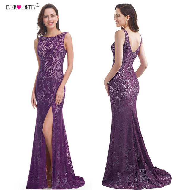 Mermaid Evening Dress Ever Pretty EP08859 2020 Long Sexy Sleeveless Split Formal Celebrity Lace Evening Gown Dresses robe longue 2