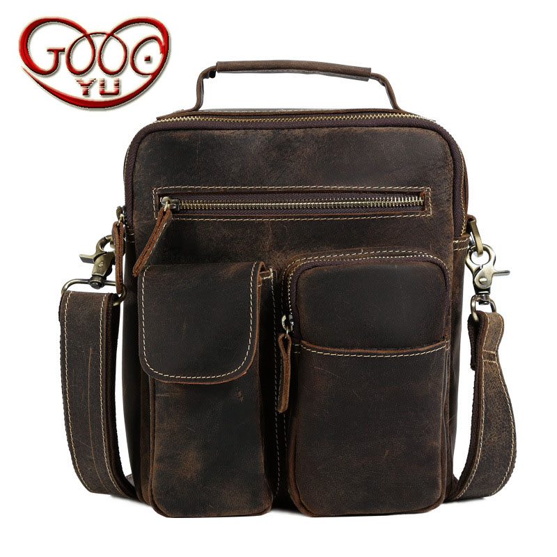 New European and American style retro crazy horse leather commuter portable Messenger shoulder bag