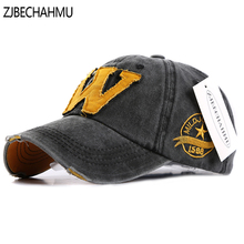 ZJBECHAHMU Hats Casual Solid Cotton Letter W Adjustable Baseball Caps for Men Women Spring Summer Autumn Hip Hop Snapback Hat