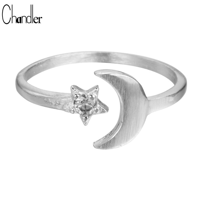Chandler 925 Sterling Silver Moon Star Ring For Women Brushed Simple Small With Big Crystal Open Finger Nail Fahsion Accessaries