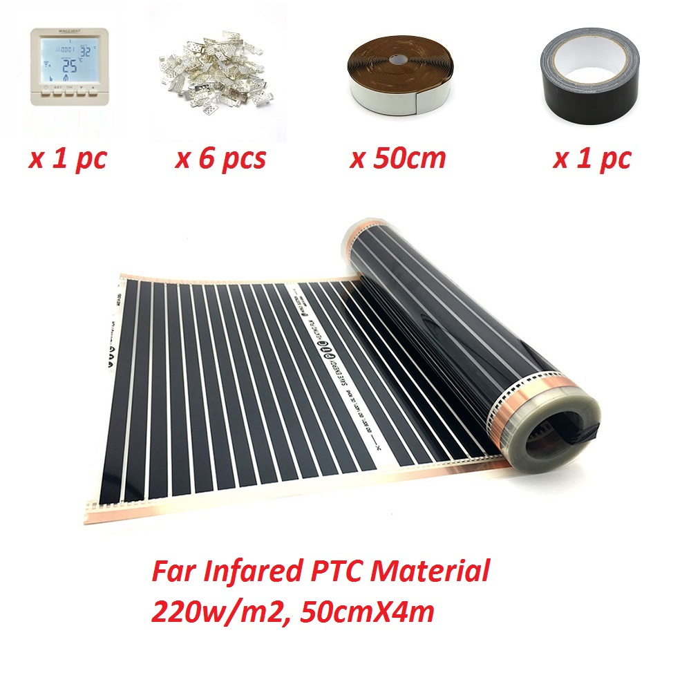 2m2 Infared Underfloor Heating Film 110W M 50cmX4m Low Electric PTC Korean Mat for Warming