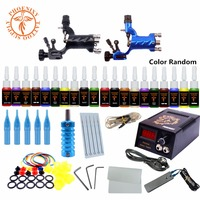 Professional Tattoo Kits 2 Rotary Tattoo Machine Gun Set 20 Colors Ink Pigment Set LCD Power Supply Rotary Tattoo Set Kit