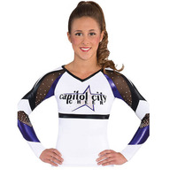 Competion Professional Lycra Cheerleader Uniform Male Female Performance Outfit Sport Costume 5sets Custom Style