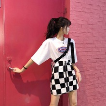 FREE SHIPPING 2018 Zipper Checkerboard Plaid High Waist Slim Mini Skirt JKP934