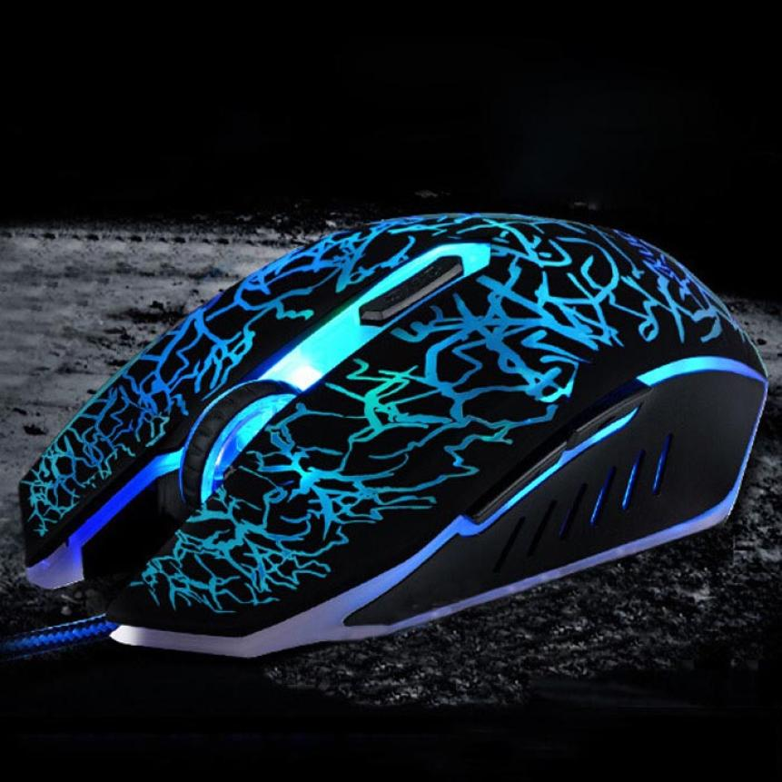 Mosunx Professional Colorful Backlight 4000DPI Optical Wired Gaming Mouse PC Laptop Tech Adjustable DPI Mice Gamer Drop Ship F