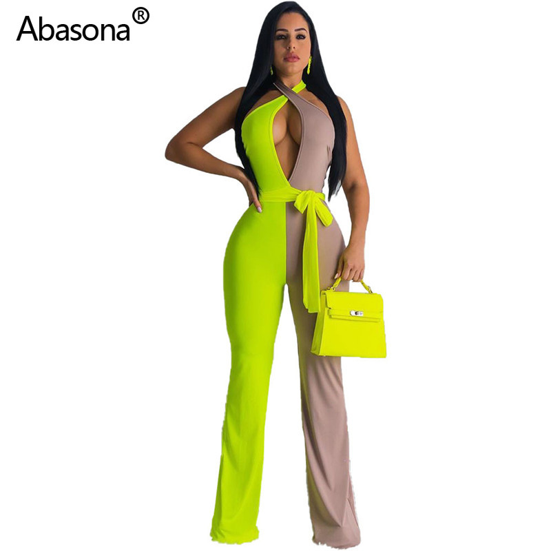 Abasona New Sleeveless Halter Neck Two Color Patchwork Hollow Out Full Length Jumpsuit with Sash Fashion Sexy Bodysuit for Women(China)