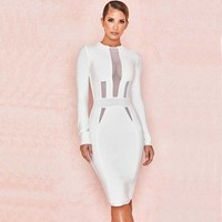 wholesale 2019 Newest Women White long sleeve Elastic tight Sexy perspective celebrity Cocktail party bandage dress(L2827)