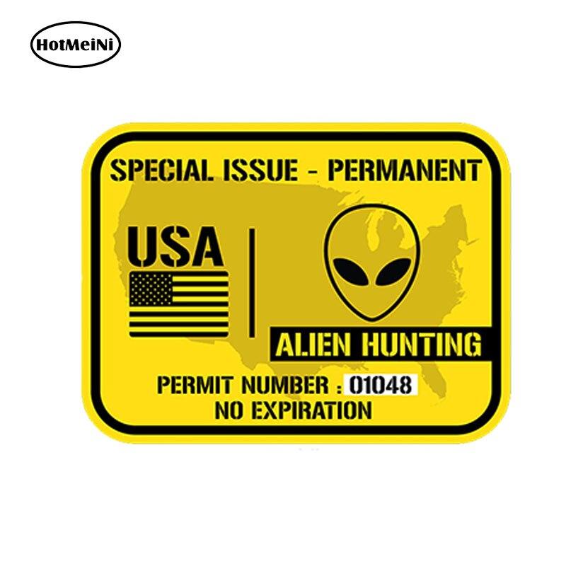 HotMeiNi 13cm x 9cm Car Styling United States Alien Hunting Permit - Printed Vinyl Decal Sticker Ufo Waterproof Accessories