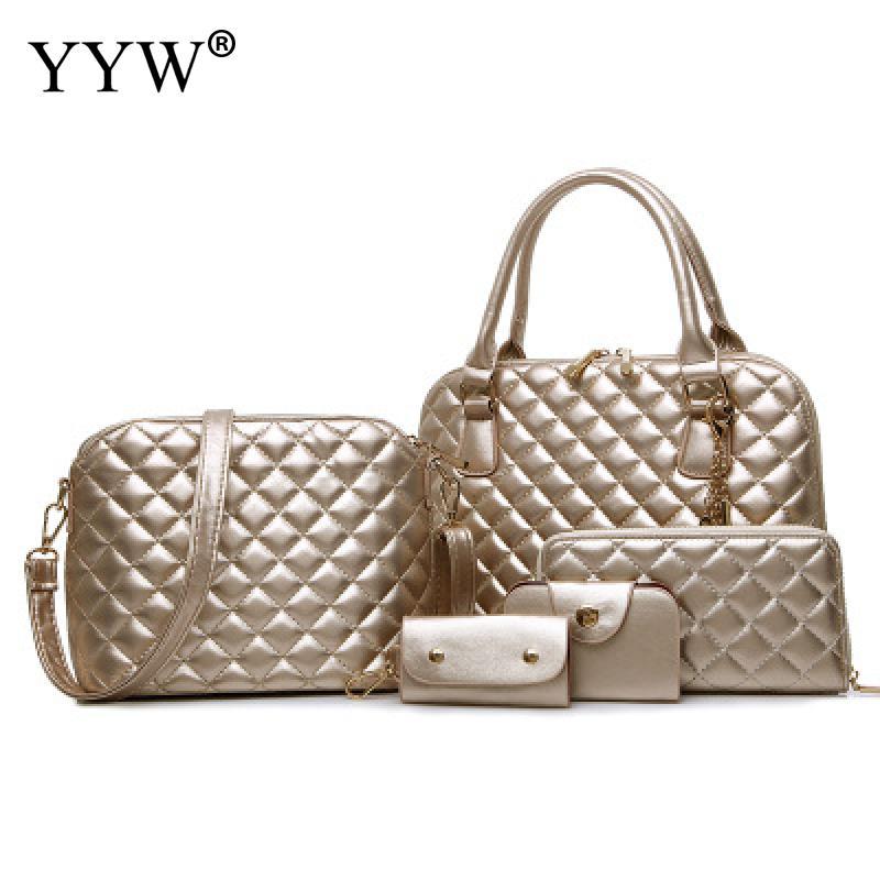 5 PCS/Set Gold PU Leather Handbags Women Bag Set Brands Top-Handle Bag Lady's Shoulder Crossbody Bags Clutch Bag Women's Pouch calamander lubanjiang set gold