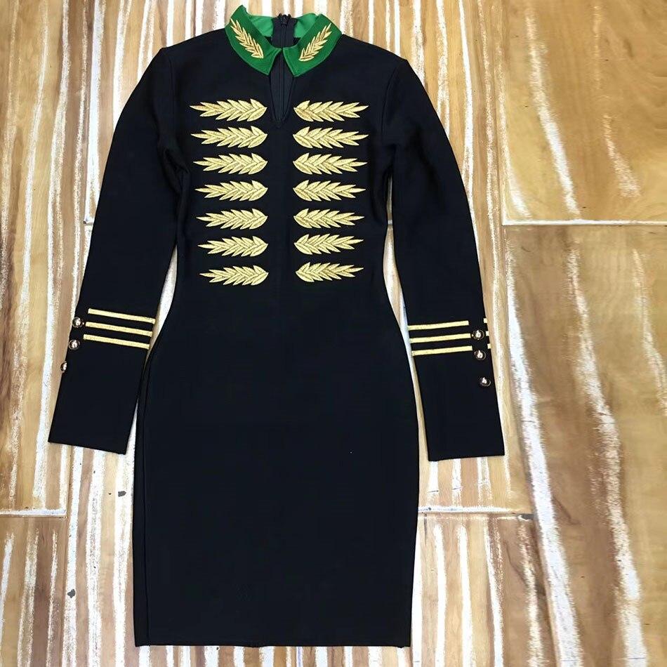 Robes Du 2019 Complètes De Moulante Celebrity Genou Dessus Black Bandage Soirée Mini Noir Manches Robe Vêtements Printemps Femmes wE801d0q
