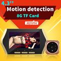 4.3 ''video mirillas espectador mirilla videoportero inalámbrico tft lcd digital video recorder visión nocturna motion detección de ojos