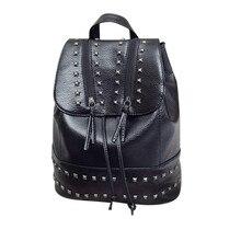 Новинка 2017 года модные женские туфли рюкзак заклепки рюкзак дорожная кожаный рюкзак женщины плеча школьная сумка Mochila Feminina