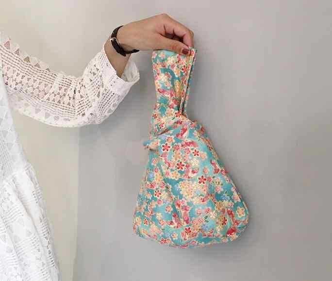 Japonia styl mori girl vintage, w kwiaty torebka do przechowywania koreańskie, w paski jednokolorowy aksamitny na rękę opakowanie na ramię monety kiesy Mini torba do noszenia małe etui
