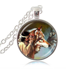 Native American Woman with Wolf Photo Necklace Animal Jewelry Glass Dome Pendant Long Chain Sweater Necklace Gifts for Friends