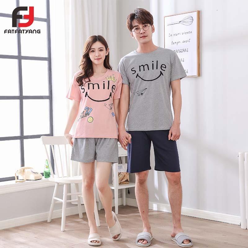 Lovers Spring Summer Cotton Pyjama Letter Printed Short Sleeve Sleepwear Suit Couple Pajama Set For Men Women Nightgown New