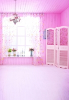 Free Shipping 5x7FT Lovely Interior Pink Decor Baby Shower Children Custom Curtain Background Studio Photography Backdrop