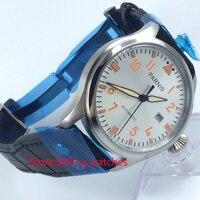 47mm parnis mostrador branco coroa grande janela de data automático relógio de pulso dos homens|wristwatch mens|wristwatch mens automaticwristwatches automatic -